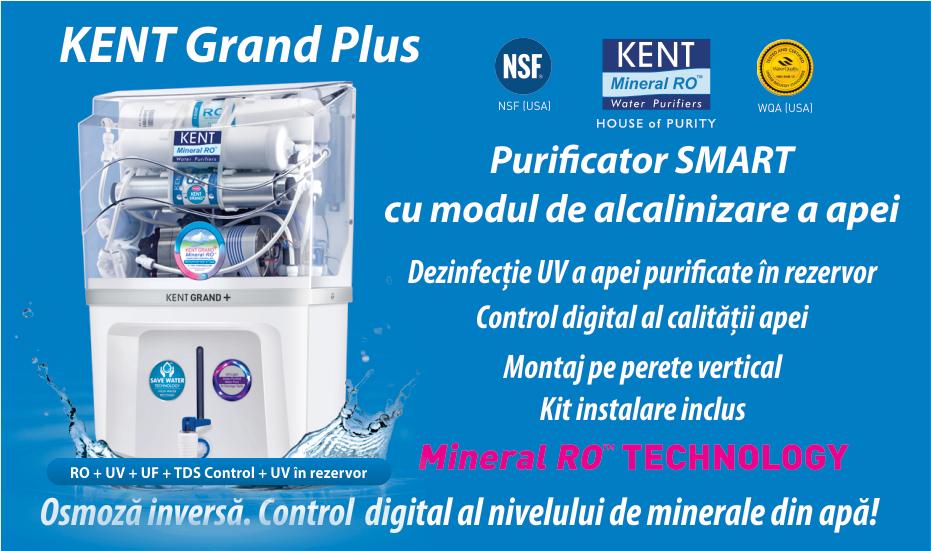 Purificator apa osmoza inversa, UV si alcanizare - Kent Grand Plus